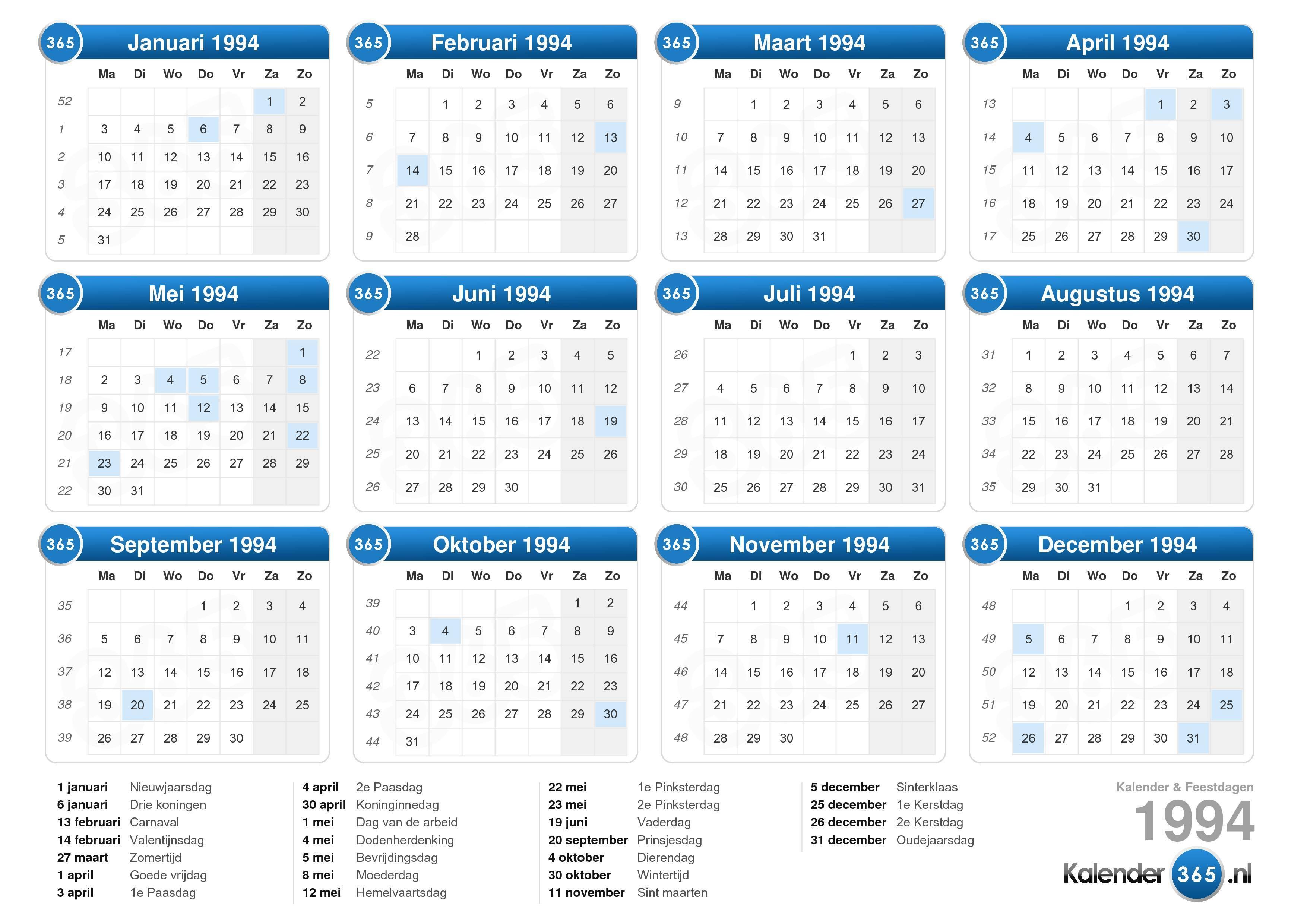 kalender 1994  kalender