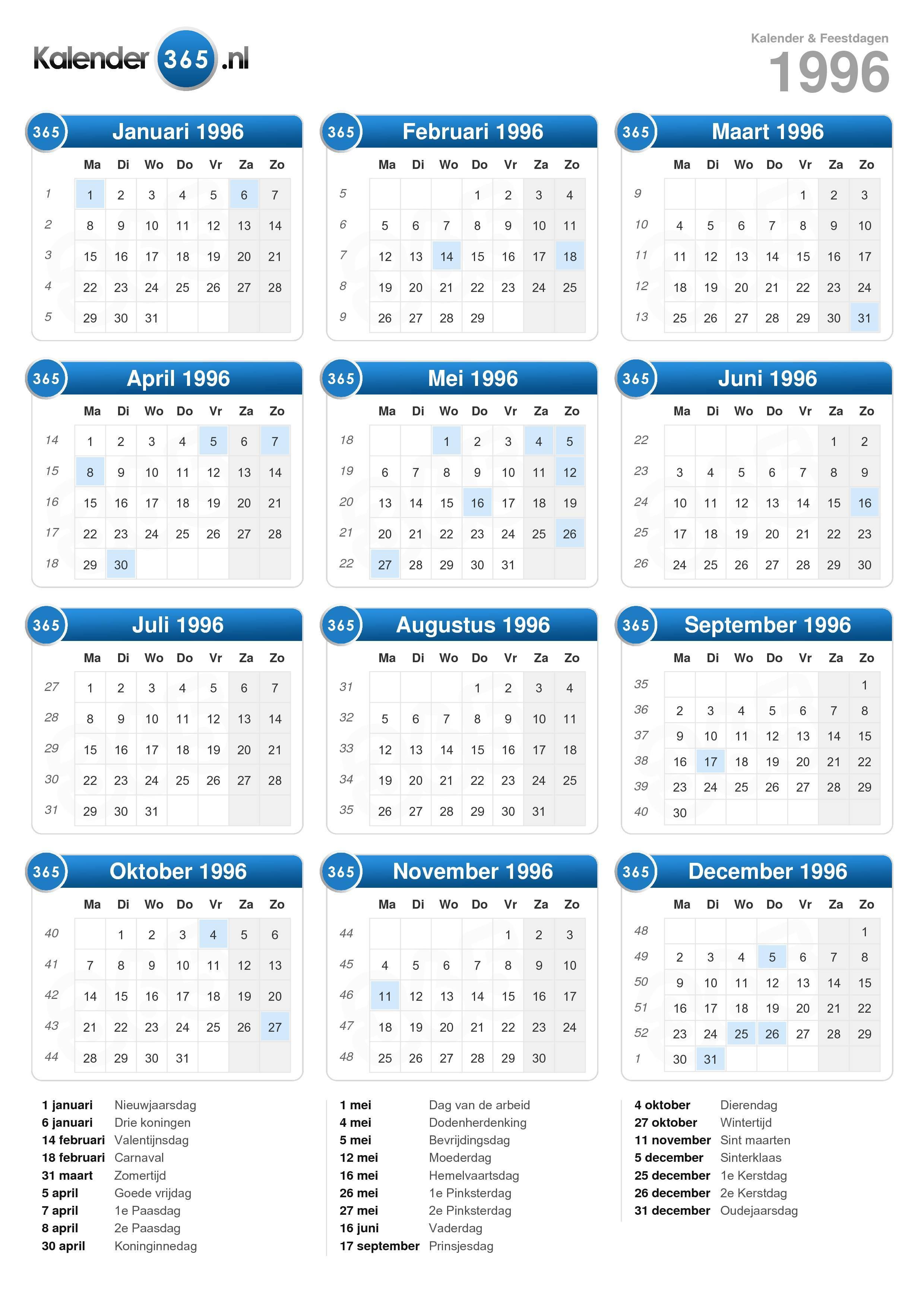 Kalender 1996