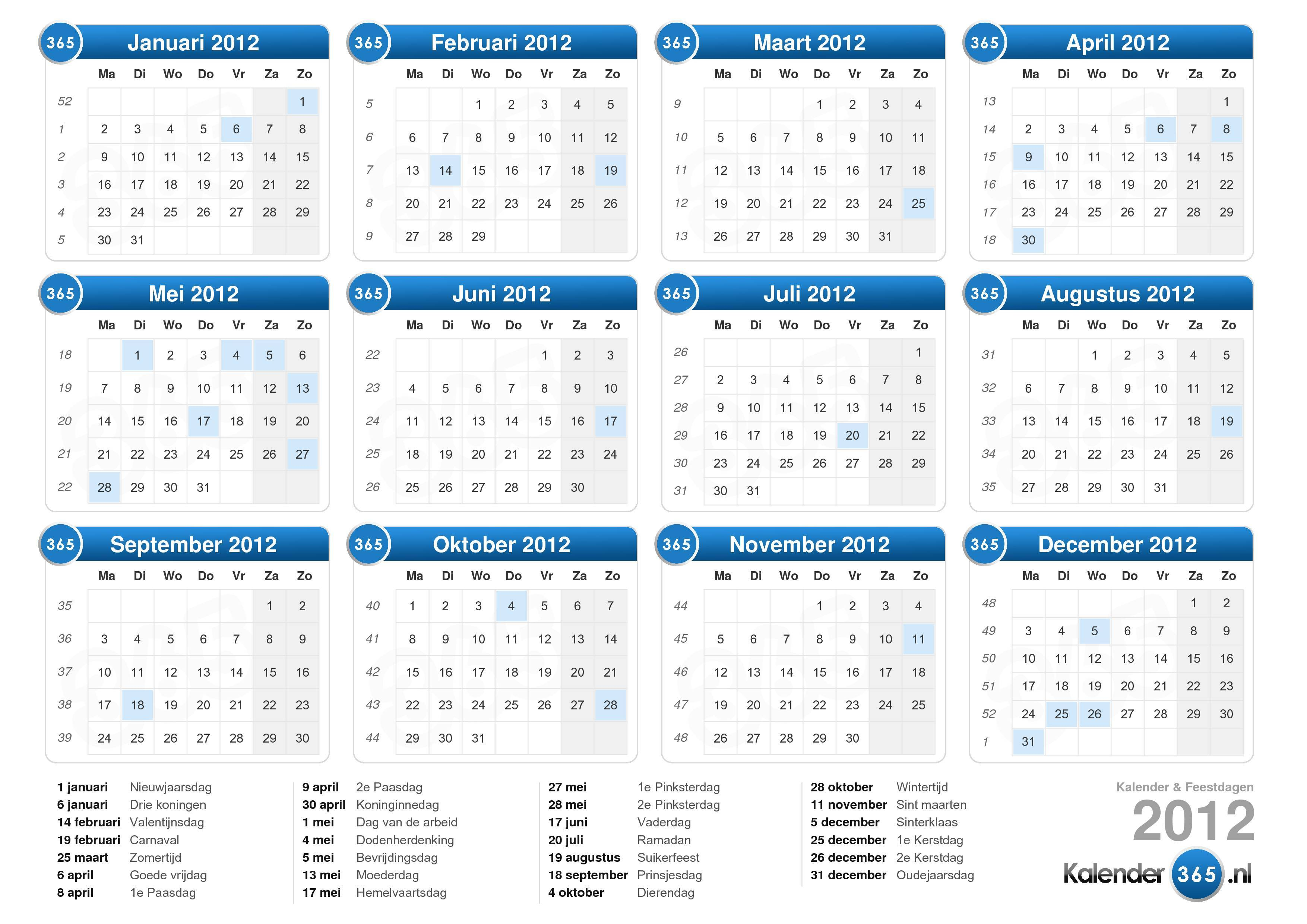Download de Kalender 2012 met feestdagen . (Liggend formaat - 1 Pagina ...