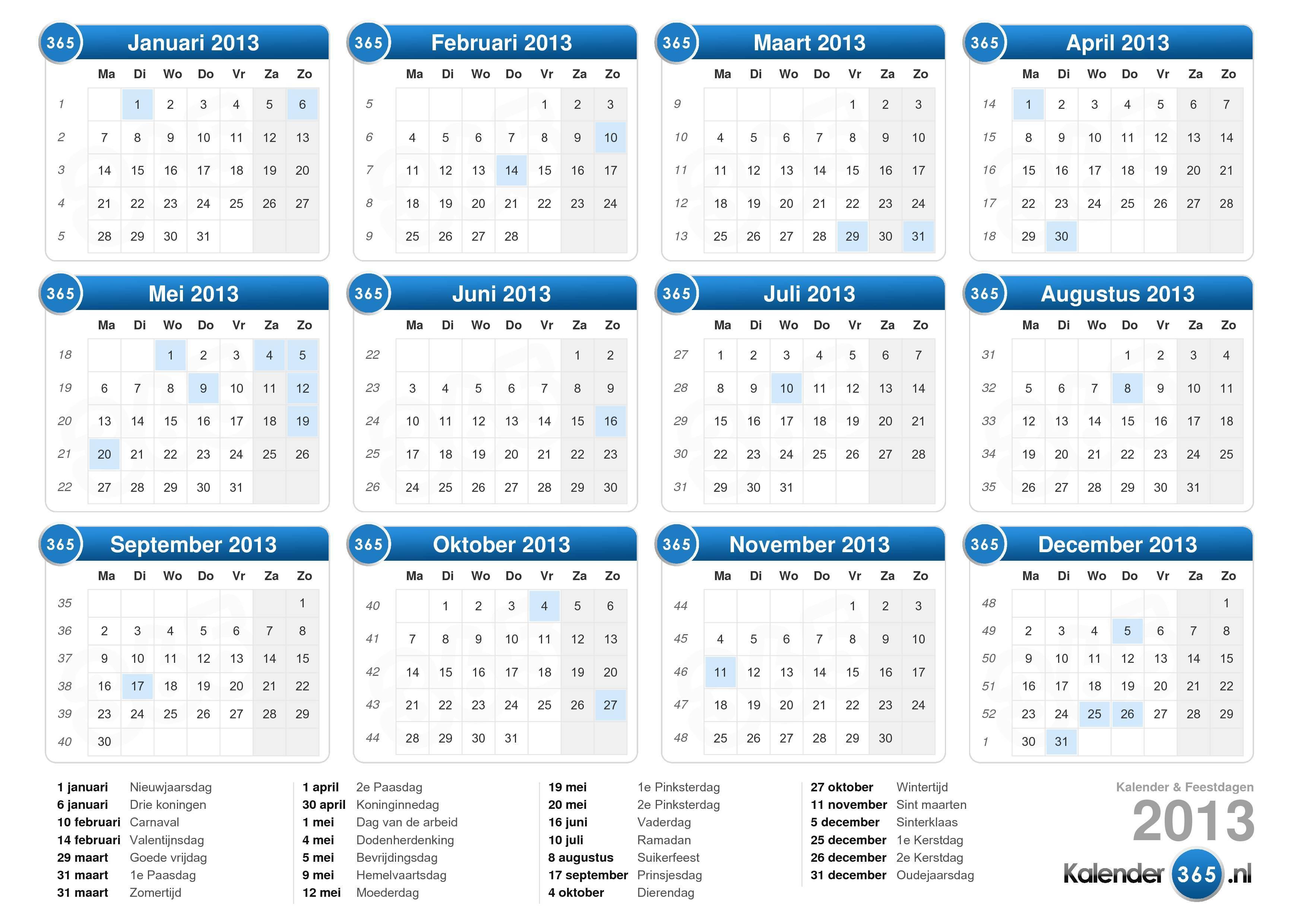 de kalender 2013 met feestdagen liggend formaat 1 pagina kalender 2013