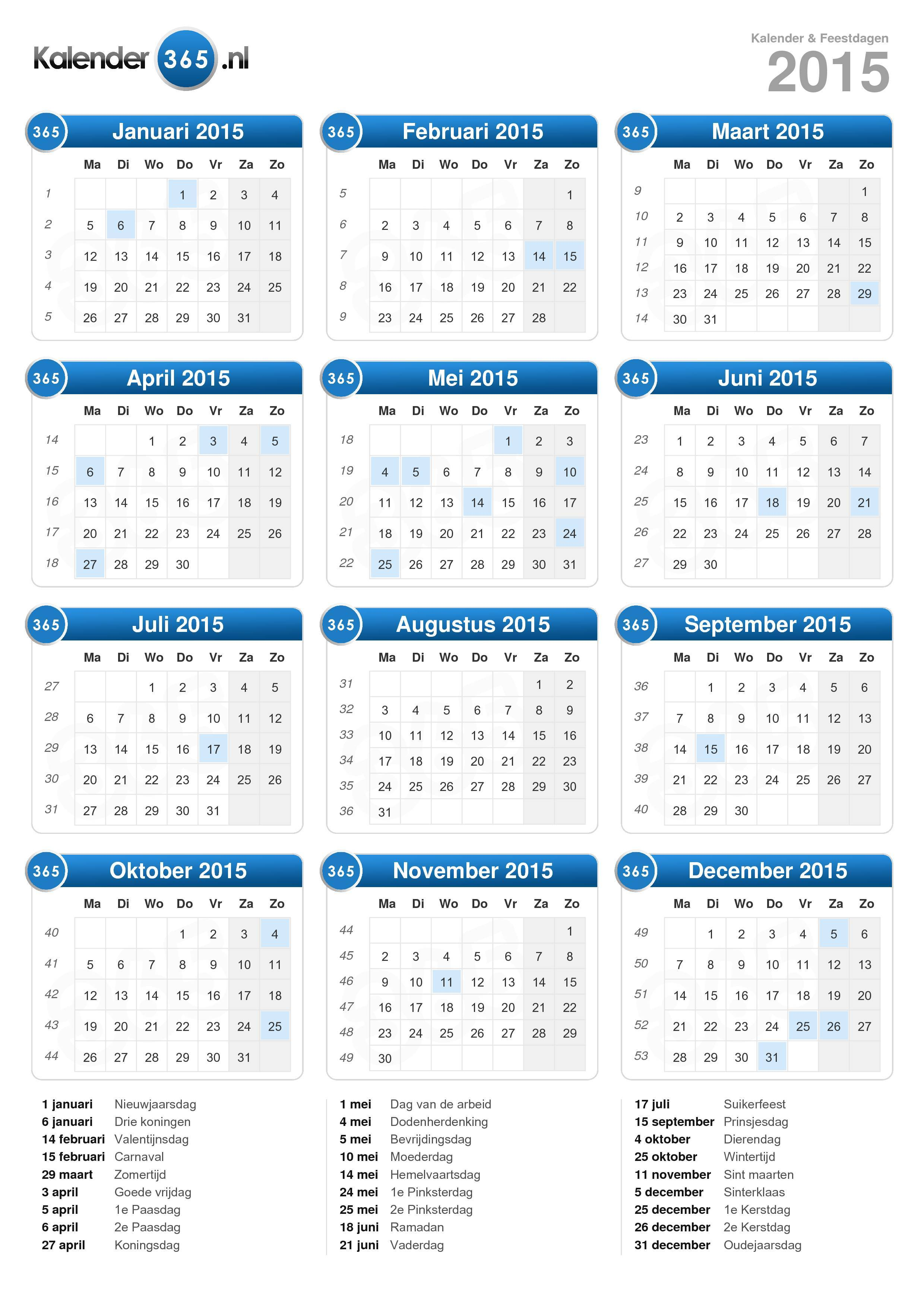 Salaris kalender 2016