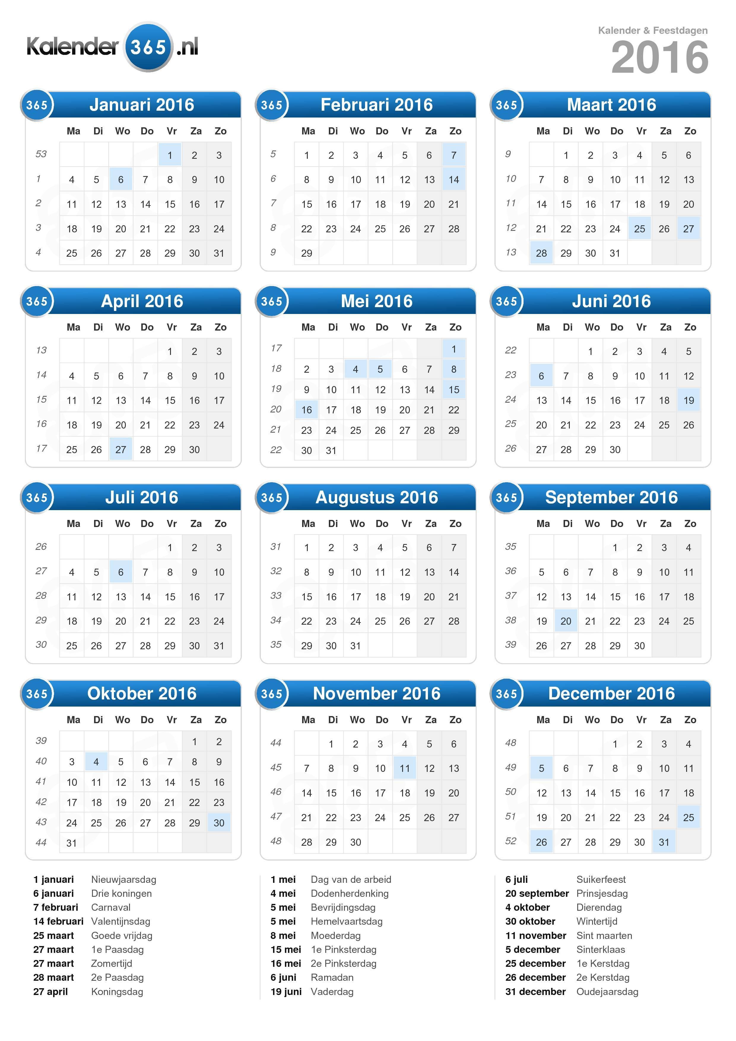 Kalender 2016 (staand formaat)