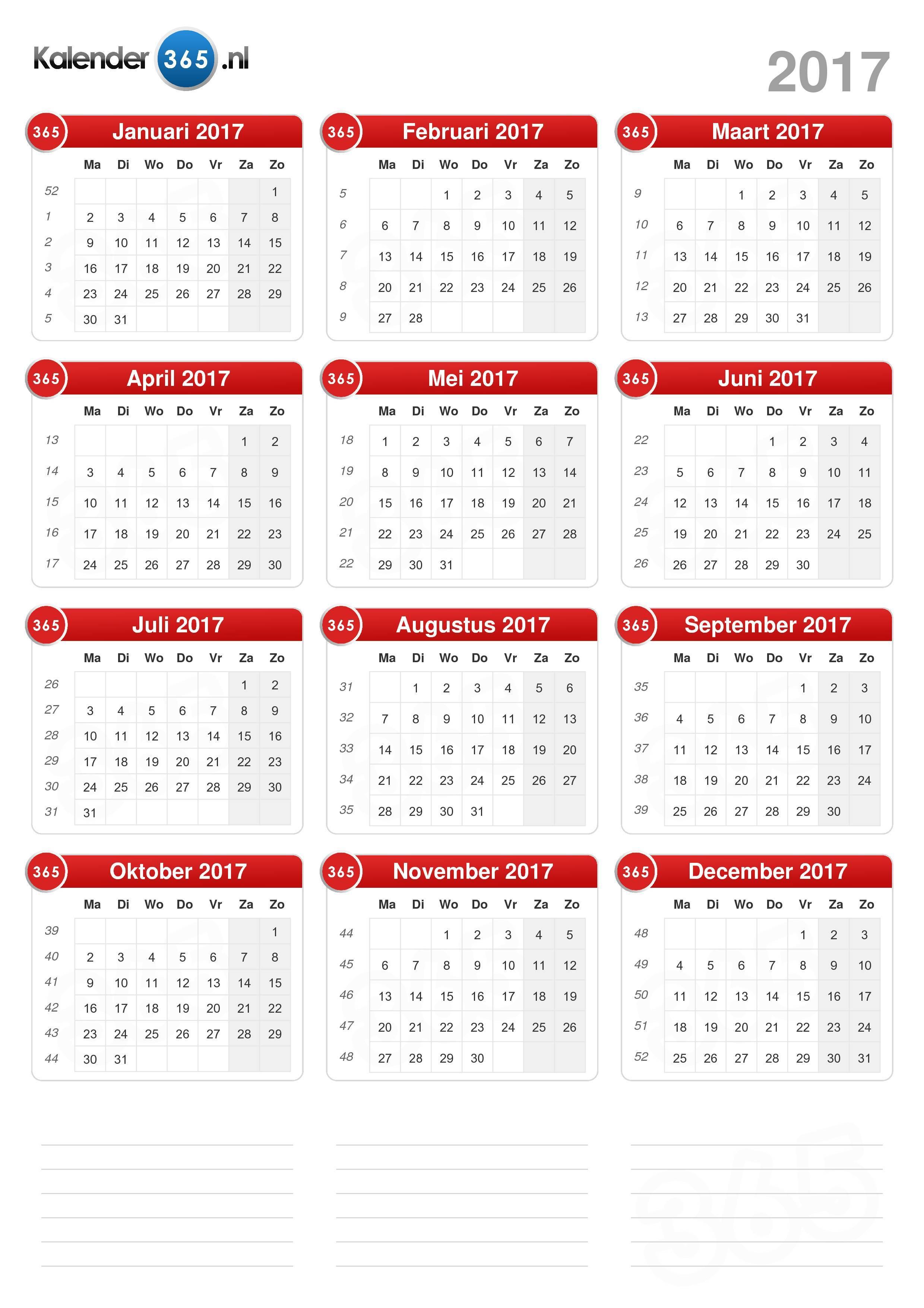 Download de Kalender 2017 zonder feestdagen . (Staand formaat - 1 ...