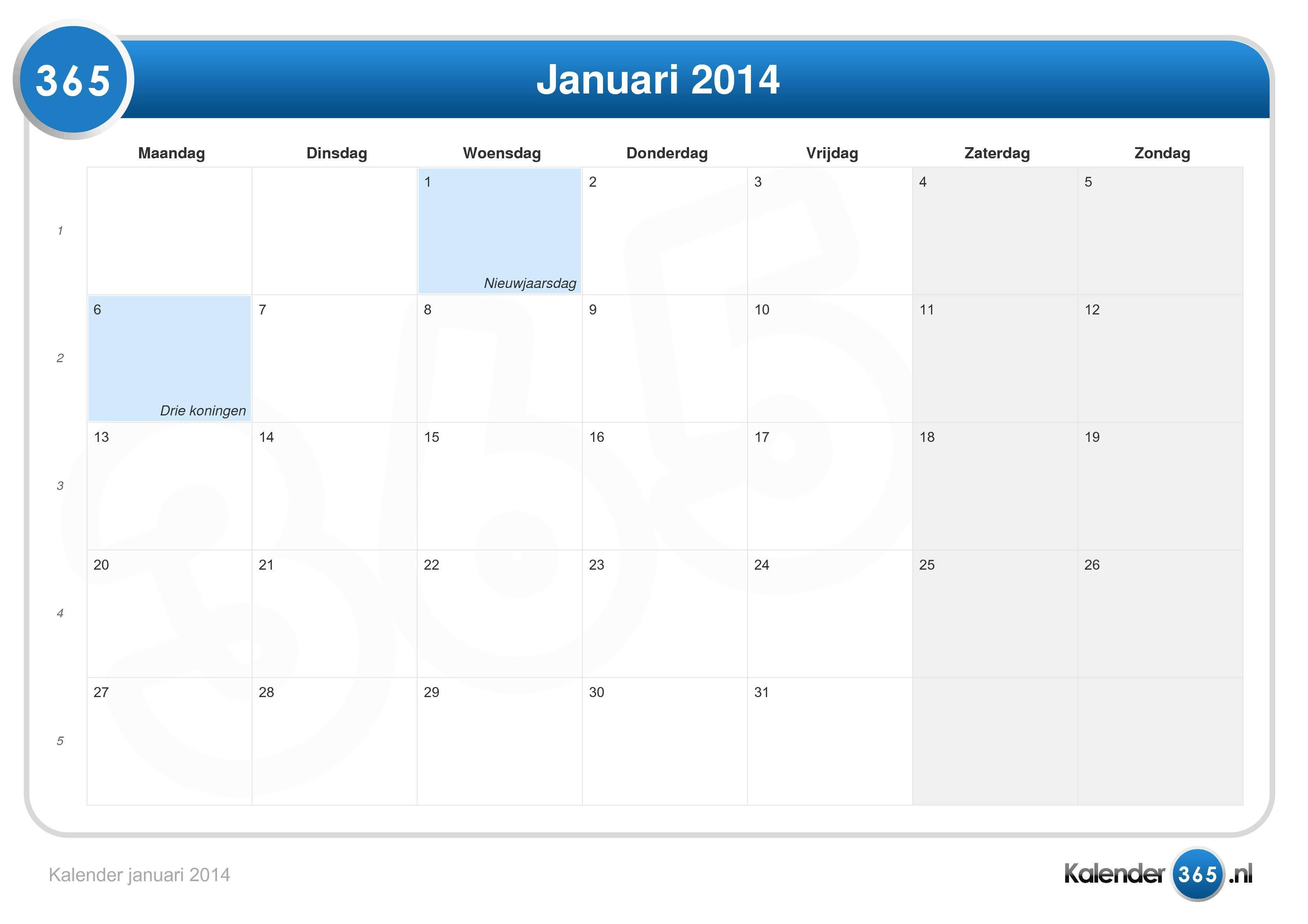 Kalender januari 2014