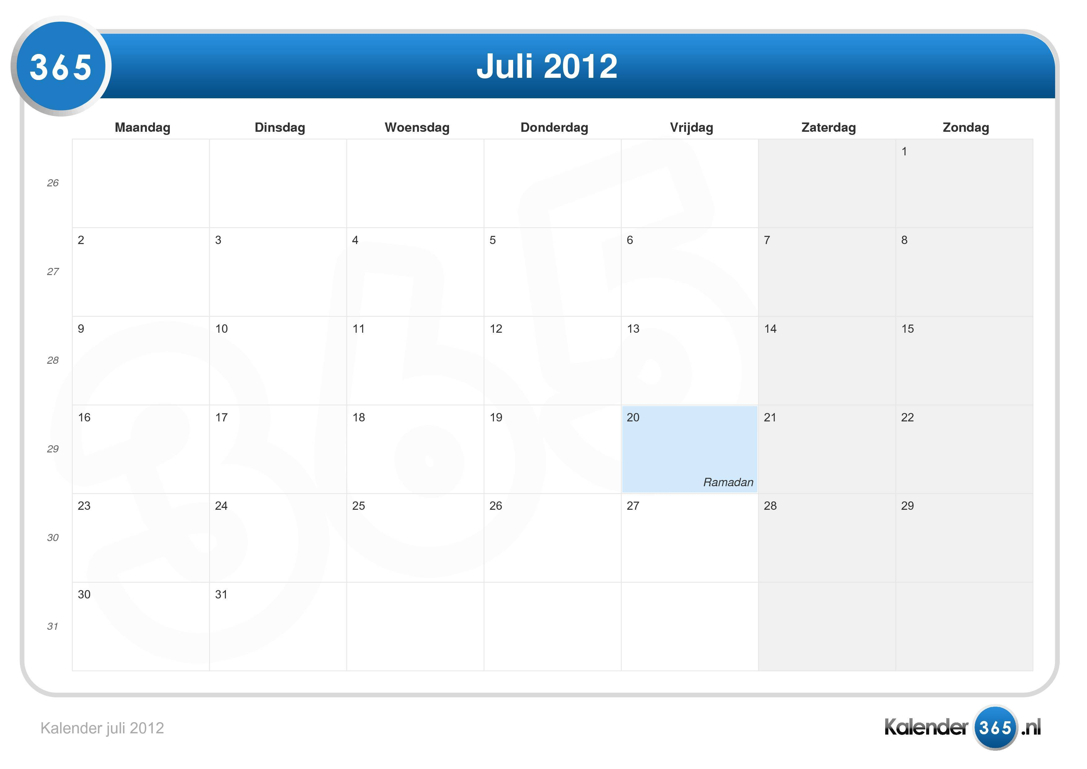 Kalender juli 2012