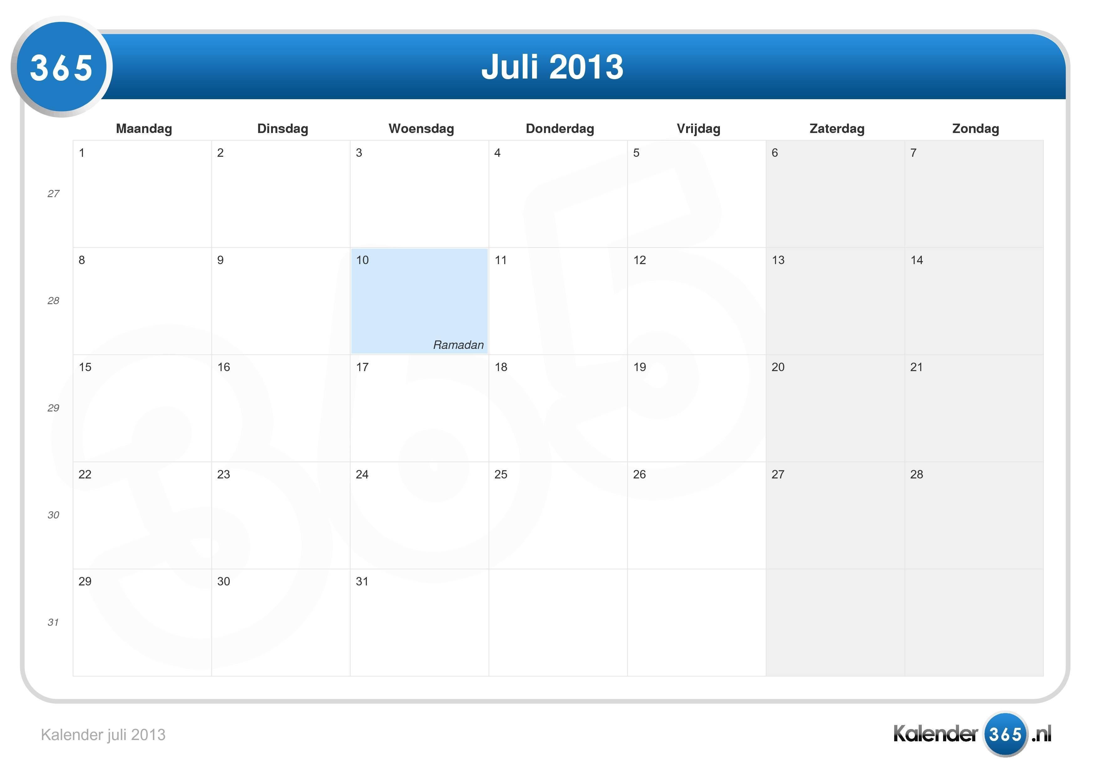 Kalender juli 2013