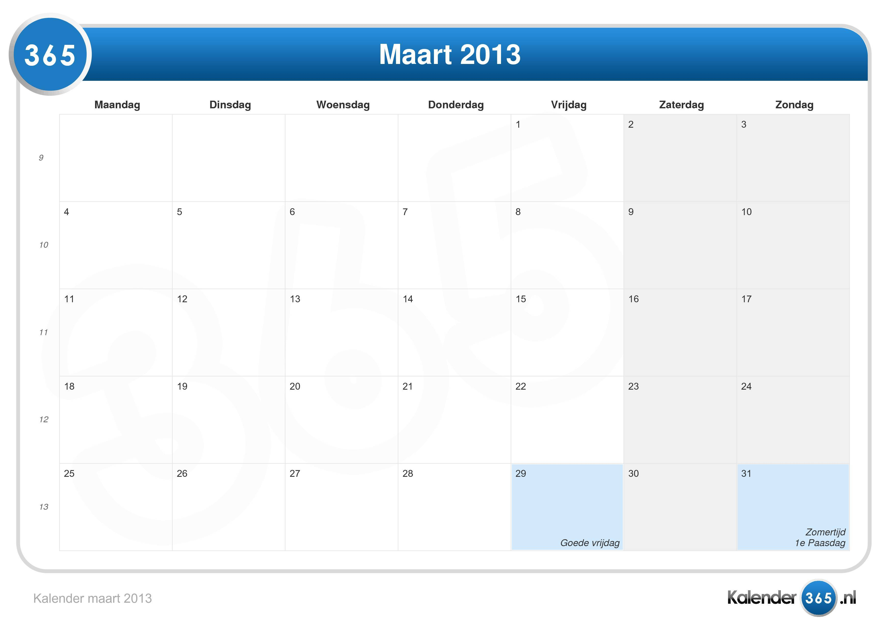 Kalender maart 2013