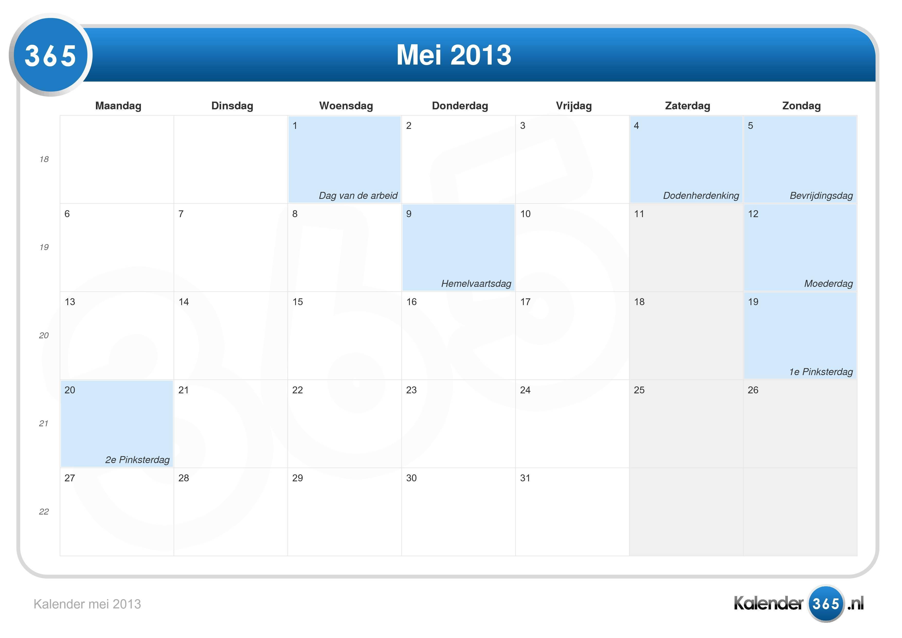Kalender mei 2013