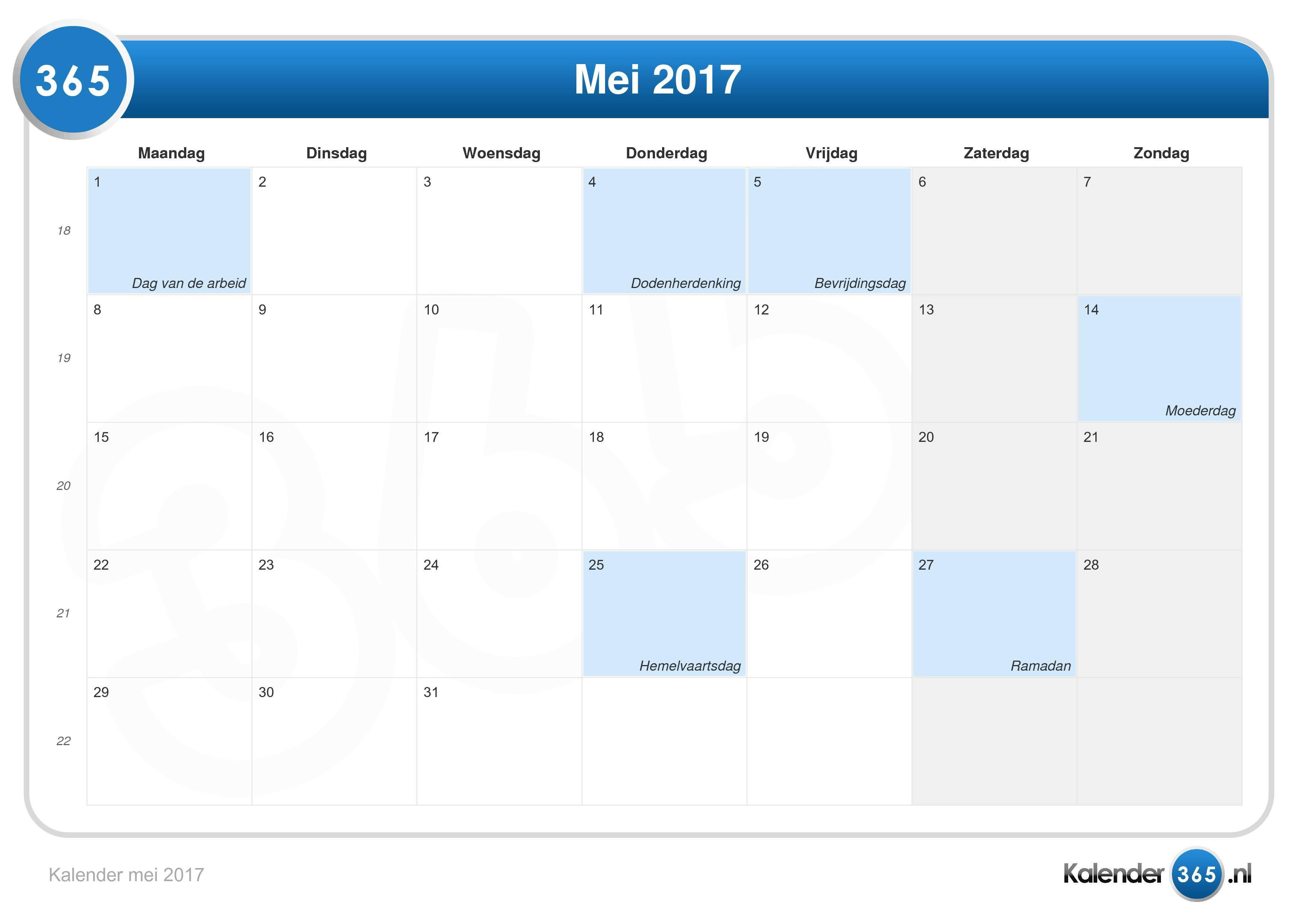 vakantie kalender 2017