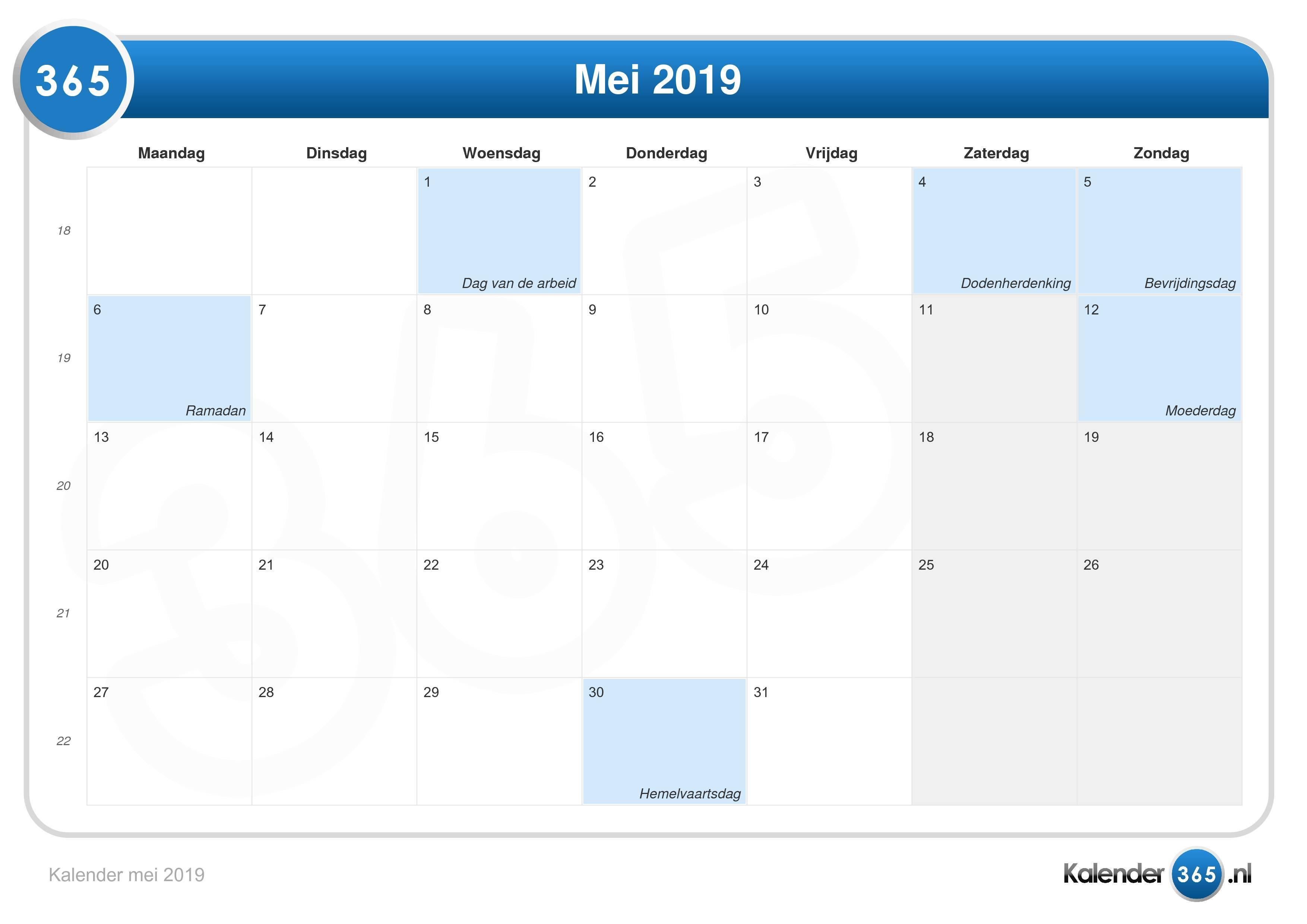 Kalender 2019 Schoolvakanties