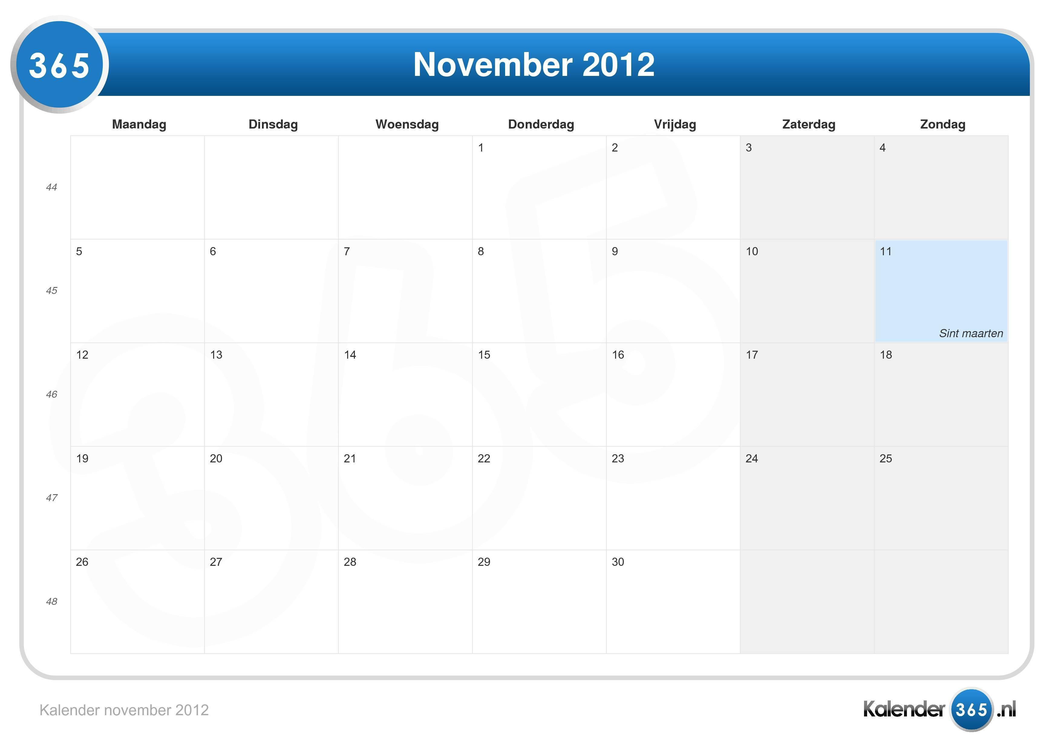 Kalender november 2012