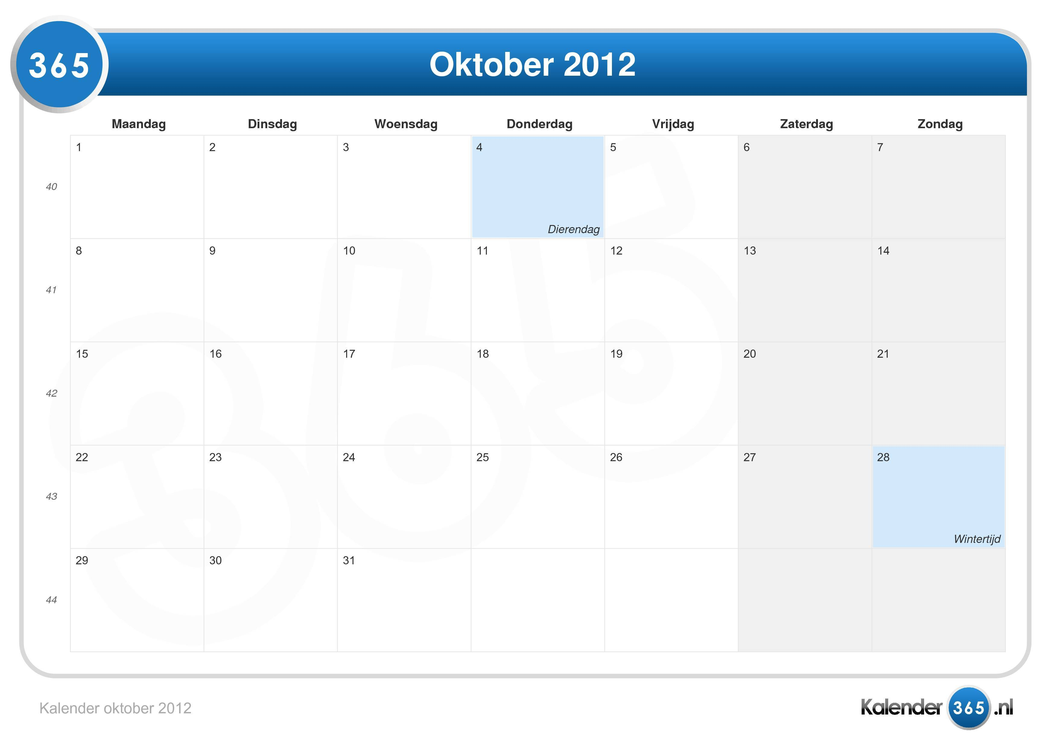 Oktober 2012 kalender