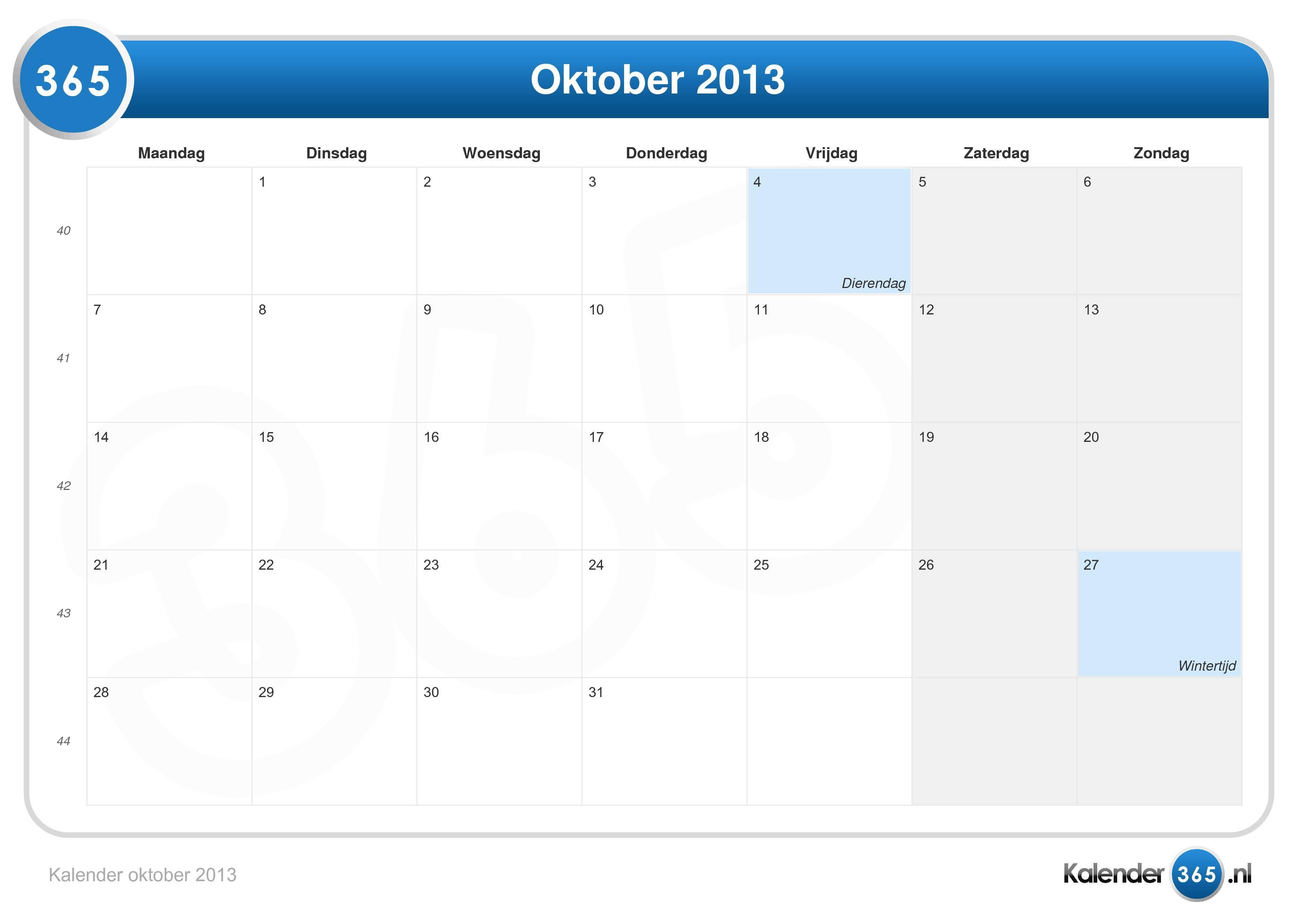 kalender oktober 2013